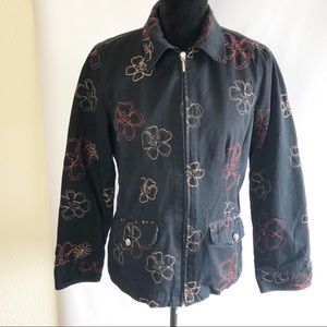 Cotton Jacket Front Zipper Embroidery Flowers